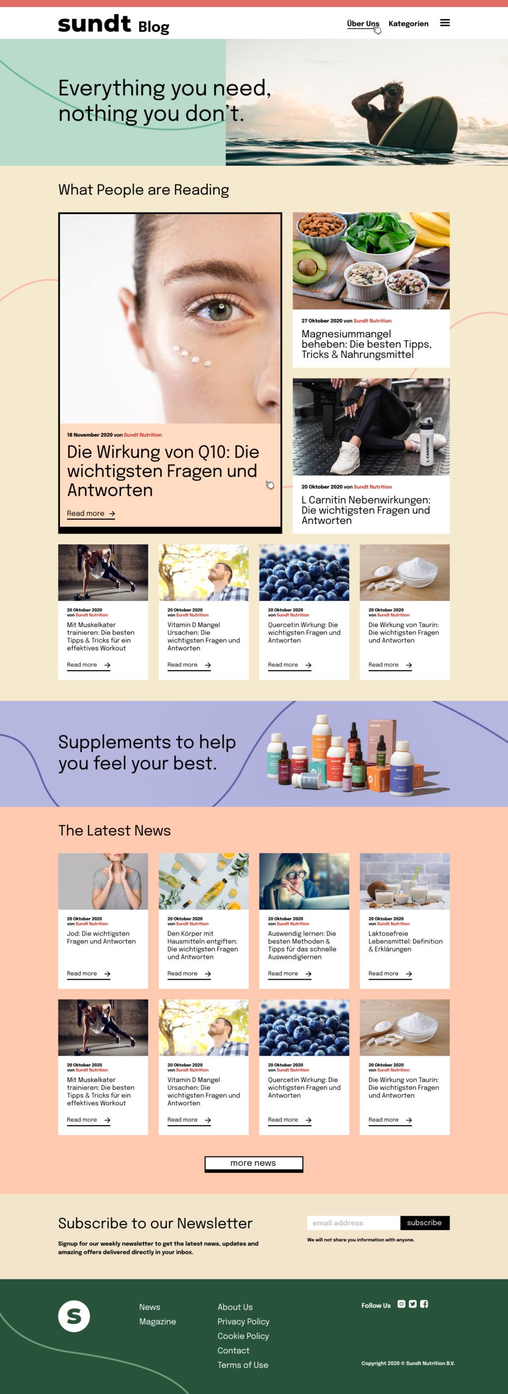 Sundt Blog homepage design